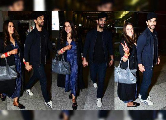 Neha Dhupia and Angad Bedi leave for their honeymoon