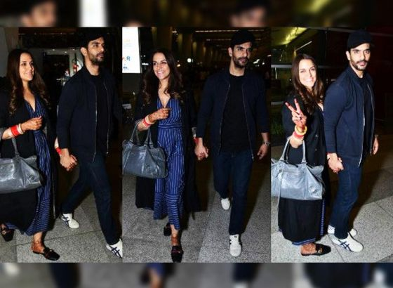 Neha Dhupia and Angad Bedi leave for their honeymoon