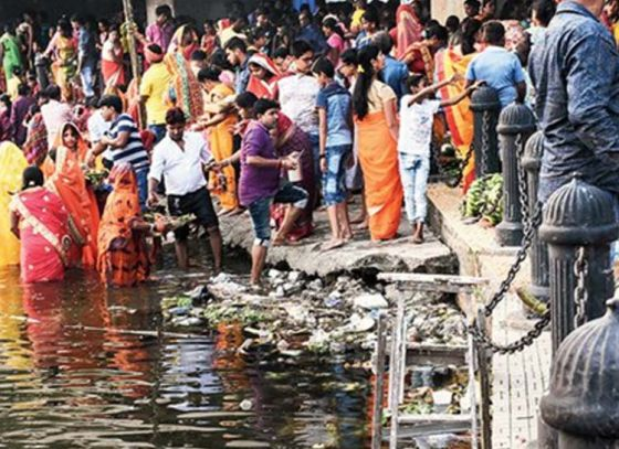 No chhath puja celebrations at Rabindra Sarobar