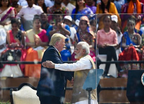 Modi welcomes Trump at Motera Stadium